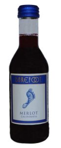 Barefoot Merlot wine mini bottle