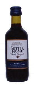 Sutter Home Merlot wine mini bottle